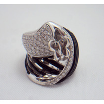 Anel Borboleta De Ouro Branco 18k 750 Diamantes E Onix!