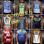 Kit Compre 6 Leve 7 Camisetas Regatas 100% Poliéster