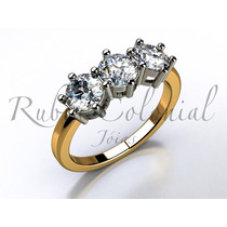 Anel 3 Diamantes. - Anel De Luxo - Diamantes De Qualidade.