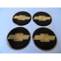 Adesivo Resinado De Calota Gm Preto Dourado