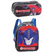 Lancheira Escolar + Estojo Duplo Transformers Optimus Prime