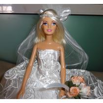 Oportunidade! Boneca Barbie Noiva Loira Vestido Renda Pérola