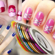 Kit Com 30 Fitas Metalizadas Adesivas Para Unhas Nail Art.