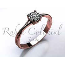 Anel Solitário De Diamantes. - Diamantes De Qualidade -
