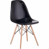 Cadeira Charles Eames Eiffel Em Policarbonato Preta Brilho