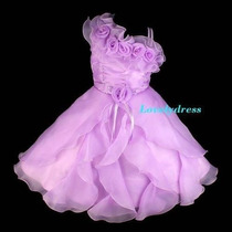 Vestido Infantil Festa, Princesa, Daminha. Cor Lilás.