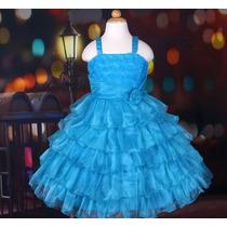 Vestido Infantil Festa/aniversário/ Flor E Babados Azul