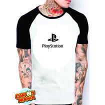 Camiseta Raglan Playstation Masculino Ou Feminino