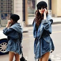 Jaqueta Com Capuz Trench Coat Casaco Hoodie Jeans Importado