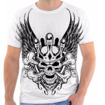 Camisa Camiseta Caveira Skull Coroa Rei Pirata Asa Rico Osso