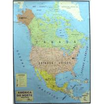 Mapa Geo Político Continente América Do Norte 1,20 X 0,90 M