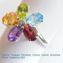 Anel Prata, Peridoto, Citrino, Ametista, Granada, Cód. 7036.