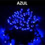 Pisca Solar De Natal Azul 100 Led Pronta Entrega