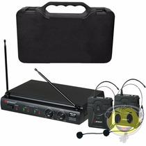 Microfone Duplo Karsect Auricular Uhf Headset O F E R T A