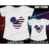 Camisetas Tal Mãe Tal Filha T-shirt Kit 2 Unid Mickey Minnie