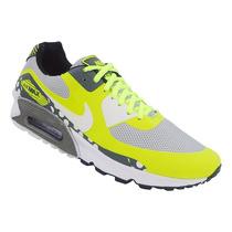 Tênis Nike Air Max 90 Premium Cinza E Amarelo Limão