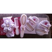 Sapato Para Presente Recem Nascido Branco Menina De Perola