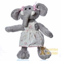 Bicho De Pelúcia Elefante C/ Roupinha Quarto Bebê E Infantil