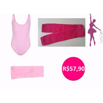 Kit Roupa Ballet Infantil - Kit Polaina Pink