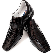 Sapato Social Couro Envernizado Homem Dhl Calçados Franca Sp