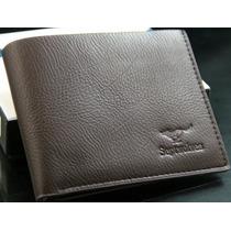 Carteira Masculina Marrom Couro Leather Genuine Frete Grátis