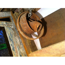 Antigo Jogo De Aros Eixo Roda De Carroça, Em Ferro Forgeé.