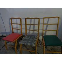 Cadeira De Pau Marfim Anos 60 - Sete Cadeiras