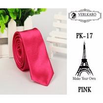 Gravata Slim Fit Pink Rosa Importada Poliéster Acetinado 5cm