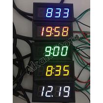 Voltímetro Termômetro Relógio Led 0-200v Dc Medidor Bateria
