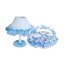 Kit Acessórios Abajur Cesta Com Potes Quarto Do Bebê Azul