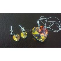 Namorados Conjunto Coração Swarovski Aurora Boreal Prata 925