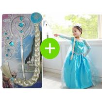Vestido Elsa Frozen E Acessórios Fantasia Frozen Infantil