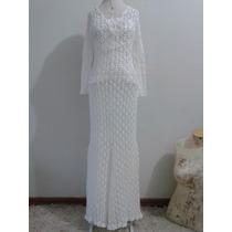 Vestido De Noiva Exclusivo De Crochê C/ Cauda Pronta Entrega