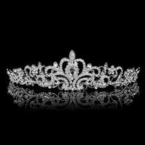 Coroa, Tiara, Noiva Princesa Prata Com Strass,vejam