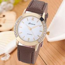 Relógio Feminino Strass Dourado Marrom Importado Barato Gen