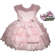 Vestido Infantil Festa Luxo Princesa Rosa Barbie Com Tiara