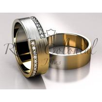 Aliança Ouro Amarelo E Ouro Branco,. Casamento