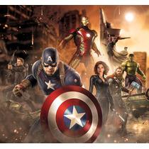 Papel De Parede Auto Adesivo Decoração Vingadores Marvel 7m2