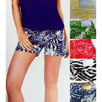 Shorts Jeans Com Lycra Color Feminino Animal Print Floral