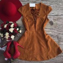 Lindo Vestido Suede Chamua Camurça Moda Primavera Verão 2017