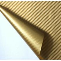 Adesivo Envelopamento Fibra De Carbono Dourada Tuning 1x3m