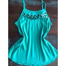 Blusinha Regata Feminina Verão Verde Alça Com Ajuste