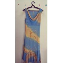 Vestido Azul Estampado Gola Boba Cód. 208