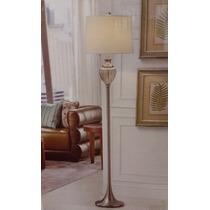 Luminária De Chão Com Botão De Pé E Decoração Em Vidro Luxo