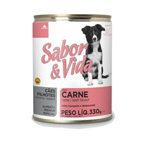 Patê Lata Sabor E Vida Carne Para Cães 12 Unidades De 280g