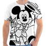 Camiseta Camisa Mickey Mouse Flor Chapéu Estampada