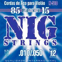 Encordoamento Violão 12 Cordas Aço 010 Nig N510 Bronze
