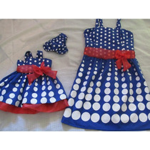 Vestido Azul Bolas Branca Mae E Filha Galinha Pintadinha