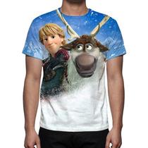 Camisa, Camiseta Frozen Kristoff, Sven E Hans Estampa Total