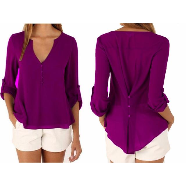 03136690df14d Kit 5 Camisa Social Feminina Blusa Lisa Manga Longa  16001 em ...